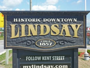 Lindsay, Ontario sign