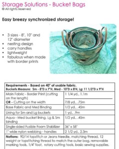 Storage Solutions Bucket Bags pattern requirements